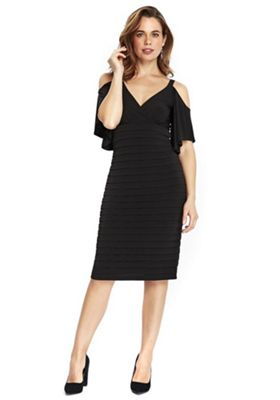 Wallis Cold Shoulder Shutter Dress 8 Black