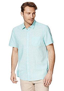 F&F Linen Blend Short Sleeve Shirt - Green