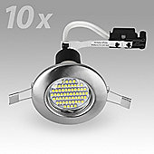 Pack of 10 MiniSun Recessed 3W LED GU10 Downlights, Brushed Chrome