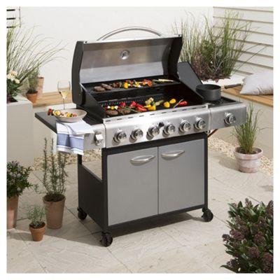 Tesco Premium 6 Burner Gas BBQ with Side Burner & Cover, Silver