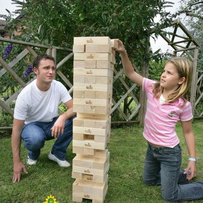 Garden Games Giant Tower - builds from 0.9m to 2.3m (max.) in play. Solid Pine Wood Tumble Tower Game