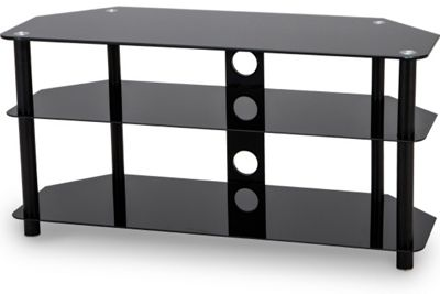Stealth Mounts 1000mm Black Glass TV Stand for TVs up to 50 inch