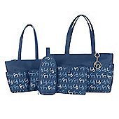 Clevamama Initials Collection Nicole Navy Tote Baby Changing Bag & Mat