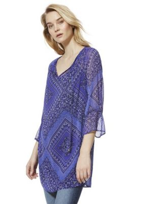 F&F Patchwork Paisley Print Tunic Blue 10