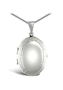Jewelco London Sterling Silver Oval shape framed pattern Locket Pendant - 18 inch Chain