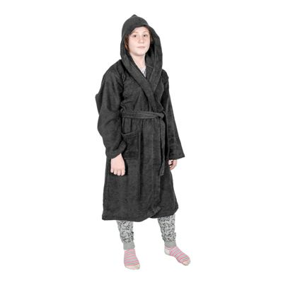 Homescapes Black 100% Combed Egyptian Cotton Hooded Kids Bathrobe, Large