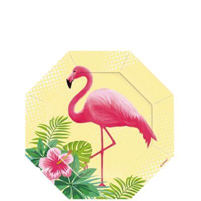 Flamingo Paradise Paper Dessert Plates - 18cm