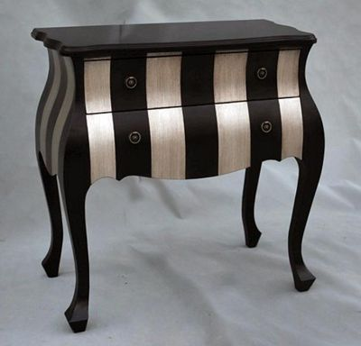 Black and Silver Chest of Drawers Width: 78cm