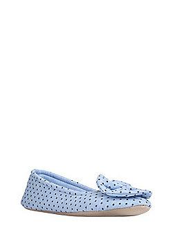 F&F Polka Dot Bow Detail Slippers - Blue