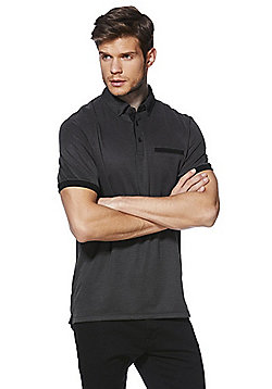 F&F Soft Touch Birdseye Stripe Polo Shirt - Black