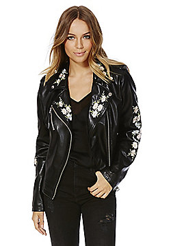 F&F Embroidered Faux Leather Biker Jacket - Black