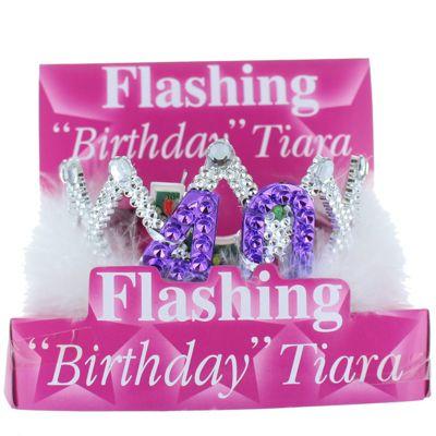 40th Birthday Flashing Tiara with White Fur Trim Party Accessory