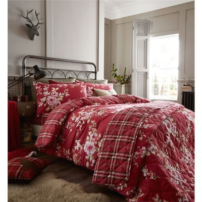 Catherine Lansfield Canterbury Red Brushed Check Duvet Cover Set - Single