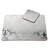 Pimpernel Damask Silver Placemats & Coasters, Set of 4