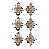 Pack of 6 Gold Snowflake Hanging Ornaments 14cm
