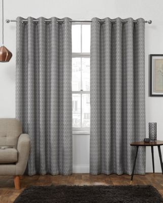 Phoenix Jacquard Charcoal Interlined Eyelet Curtains, 114x137cm