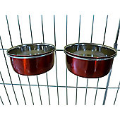 Ellie-Bo Pair of Small Stainless Steel 0.6Ltr Red Dog Cage/Crate Bowls