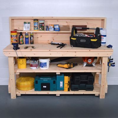 Wooden Work Bench With Back Panel 4ft - With Shelf