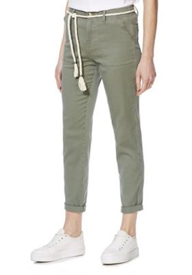 F&F Patch Pocket Mid Rise Chinos with Rope Belt Khaki 18 Regular leg