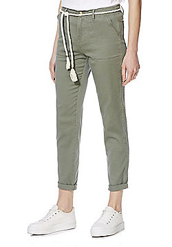 F&F Patch Pocket Mid Rise Chinos with Rope Belt - Khaki