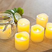 Set of 6 Votive Wax Battery LED Tea Light Candles