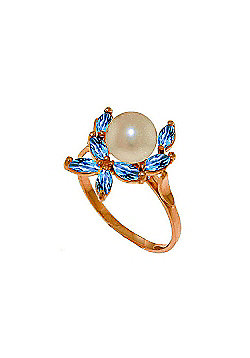QP Jewellers Blue Topaz & Pearl Ivy Ring in 14K Rose Gold