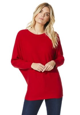 F&F Bow Back Ribbed Jumper with As New Technology Red 14