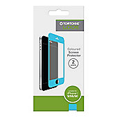 Tortoise™ Look Coloured Screen Protector, 2 Pack, iPhone 5/5S/5C. Clear with Blue Border.
