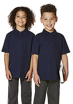 "F&F School 2 Pack of Boys Teflon EcoElite""™ Polo Shirts with As New Technology - Navy"