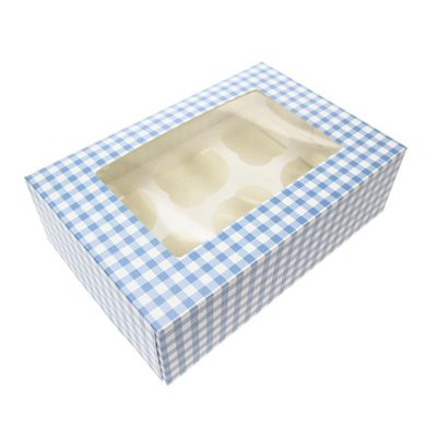 Cupcake Box - Blue Gingham - holds six