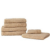 Highams Luxury 100% Egyptian Cotton 550 GSM Towel Bale - 6 Piece Set - Caramel