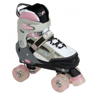 SFR Typhoon Adjustable Girls Quad Skates - Black/Pink - Medium (junior 12 - UK2)