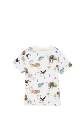 F&F Jungle Motif Short Sleeve T-Shirt White Multi 12-18 months