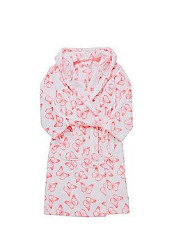 F&F Butterfly Fleece Dressing Gown - White