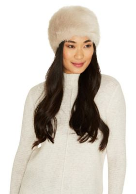 F&F Faux Fur Cossack Hat One Size Cream