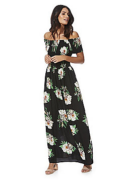 Stella Morgan Floral Shirred Bodice Maxi Dress - Black