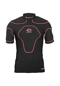 Optimum Origin Rugby Headguard Scrum Cap Black/Fluro - Black & Red