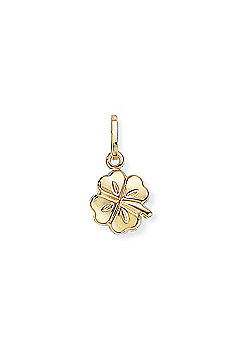 Jewelco London 9ct Yellow Gold - Four Leaf Clover Charm Pendant -