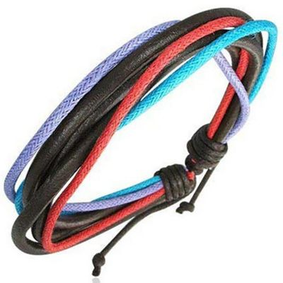 Black Leather & Multi-coloured Cord Strand Bracelet for Men by Urban Male