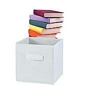 Russel Fabric Folding Storage Box, White 25CM