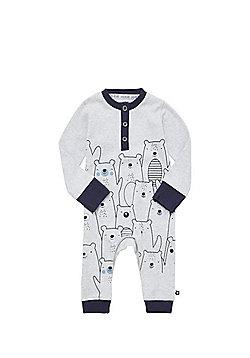 F&F Polar Bear Print Henley Sleepsuit - Grey
