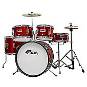 Tiger Junior Red Drum Kit - 5 Piece with Stool and Sticks
