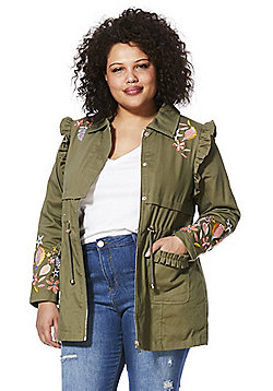 Simply Be Embroidered Plus Size Parka Jacket - Khaki
