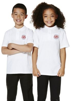 Unisex Embroidered School Polo Shirt 6-7 years White