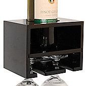 Merlot - Wall Mounted Wine Bottle / 2 Glass Rack - Black