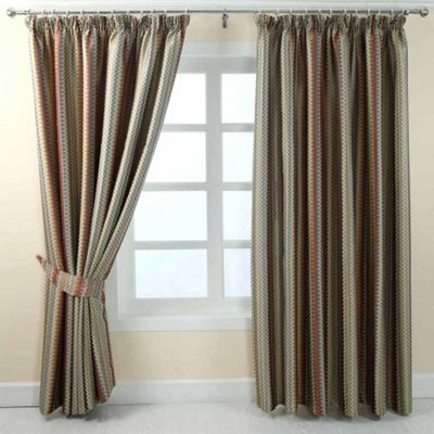 Homescapes Multi-Colour Jacquard Curtain Modern ZigZag Design Fully Lined - 90