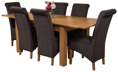 Richmond medium Extending Solid Oak Dining Set Table + 6 Black Fabric Chairs