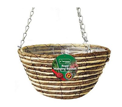 1 X Kingfisher 12-Inch/30 cm Rope Hanging Basket - Beige