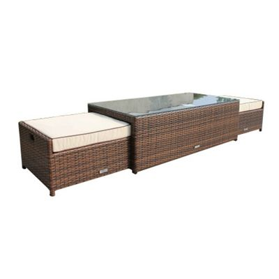 Ascot Coffee Table with 2 Footstools in Chocolate Mix and Coffee Cream