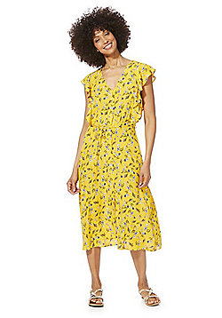 F&F Floral Button-Through Tea Dress - Yellow